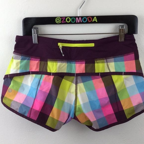 lululemon athletica Pants - 🍋Lululemon Plaid  Speed Shorts | 6 | fun colors
